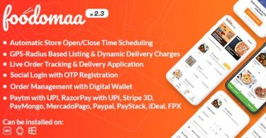 Foodomaa – Multi-restaurant Food Ordering Restaurant Management and Delivery Application