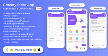 Grocery Food E-commerce Single Vendor Store with Admin App and Delivery App