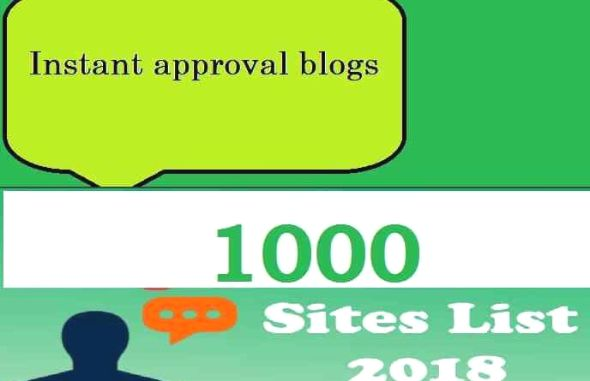 Instant Approval Blogs Site List 2019