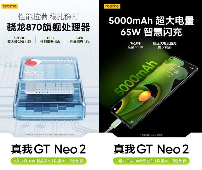 Realme GT Neo2 launching Snapdragon 870, 5,000mAh battery